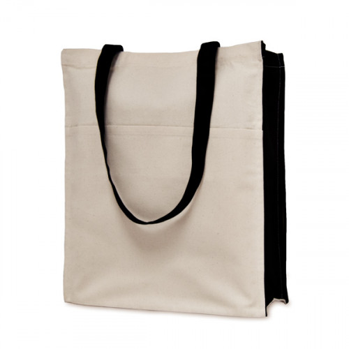 Natural canvas 8oz Shopper 30x36x12cm with long black handles, black gusset, and front pocket