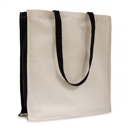 Natural canvas 8oz Shopper with Long black Handles & black Gusset