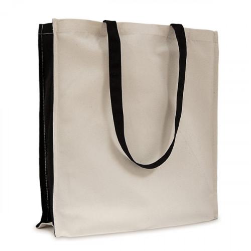 Natural canvas 8oz Shopper with Long black Handles & black Gusset