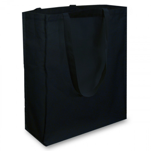 Black cotton Shopper with Long Handles and a Gusset