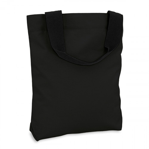 Black canvas 8oz Shopper 40x40cm Webbing handles & inner zip pocket. Base 10cm
