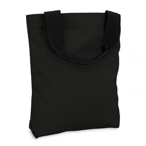 Black canvas 8oz Shopper 40x40cm Webbing handles & inner zip pocket. Base 10cm