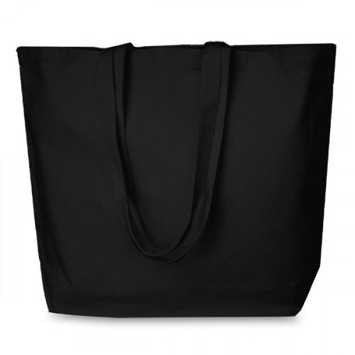 Black cotton Shopper 52x40cm. Long handles. Base 13cm