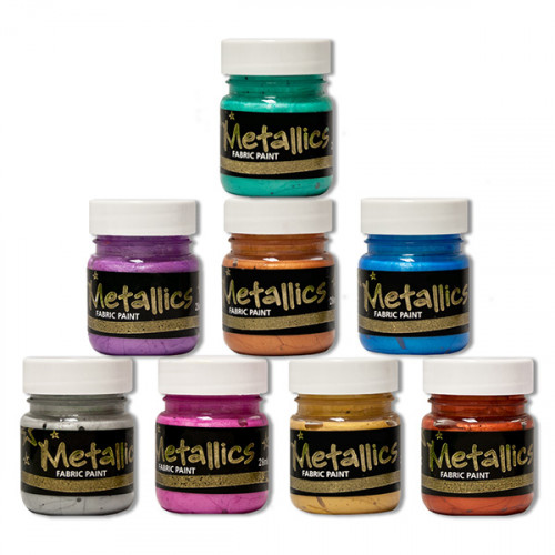Starter Set 8 x 28ml Metallic Fabric Paints