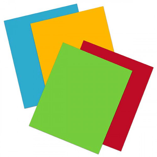 Brights iron on sheets - 4pack 20x25cm Flame Red, Sunflower Yellow, Apple Green & Sapphire Blue