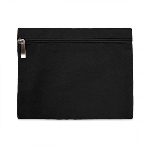 Black canvas 8oz pencil case/make-up bag 21x16cm with Black zip