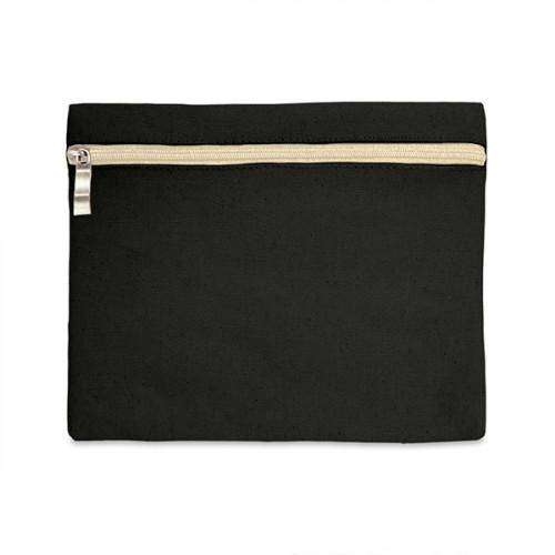 Black canvas 8oz pencil case/make-up bag 21x16cm