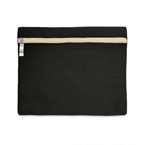 Black canvas 8oz pencil case/make-up bag 21x16cm