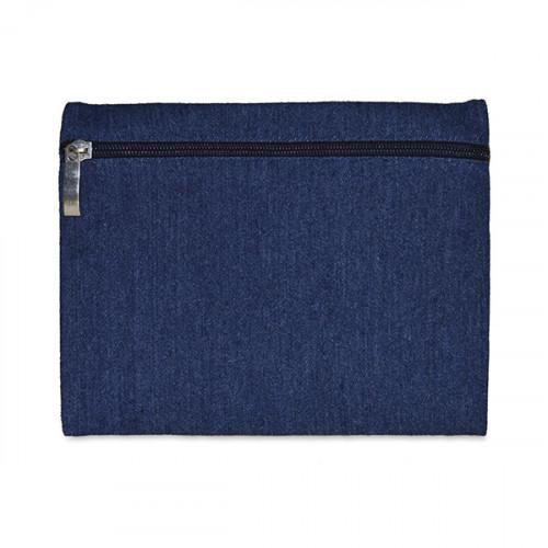 Indigo Denim pencil case with Navy zip