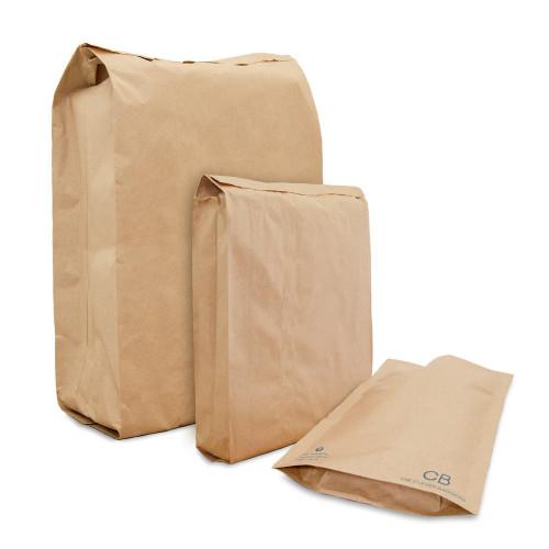 Three sizes of brown kraft paper mailing envelope