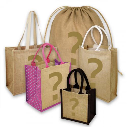 10 Printed Factory Seconds Jute or Hemp/Cotton Bags