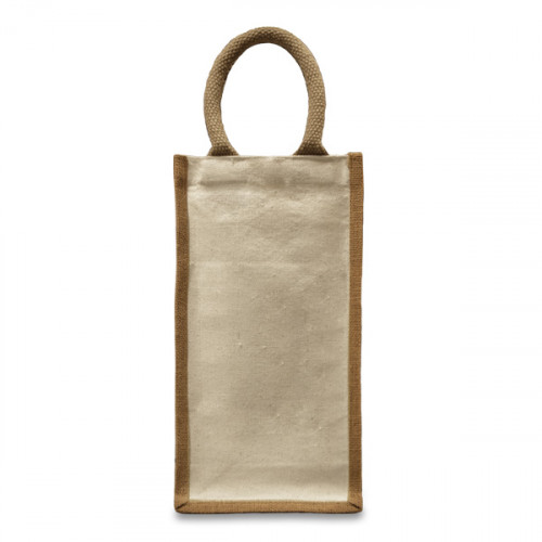 Natural canvas 10oz & jute 2 Bottle Bag 18x34x10cm Gusset- flat