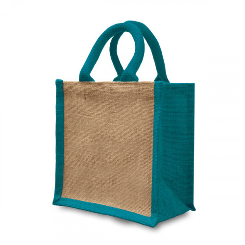 Natural/Teal Jute Gift Bag 20x20x12cm