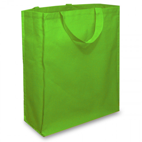 Green Cotton Shopper with Short Handles And A Gusset