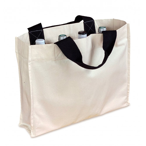 Natural canvas 8oz 4-Bottle Carryall 41x33x10cm Short Handles