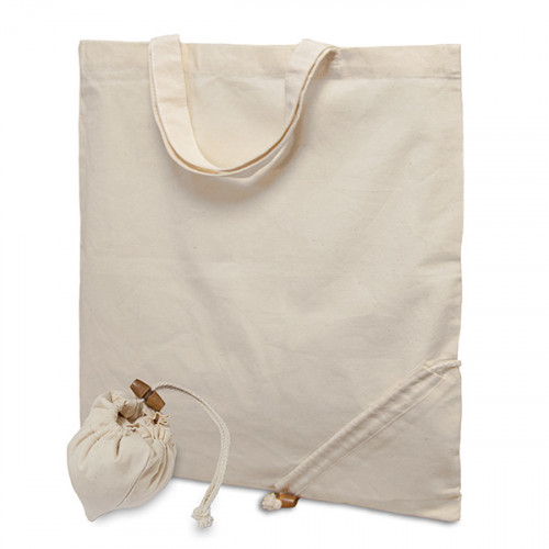 Natural cotton carrier 38x43cm short handles + corner folding pocket