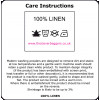 Care instructions for white linen products