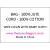 Care label for natural jute drawstring bag