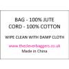 Care label for natural jute drawstring bag