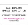 Care label for starched jute products