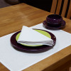 White linen/cotton Napkin 48x48cm - folded at place setting